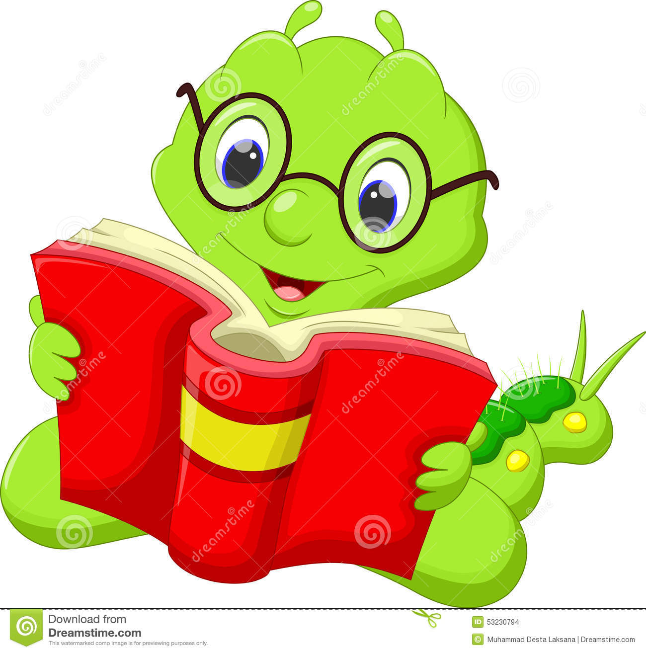 cartoon caterpillar reading a book stock illustration