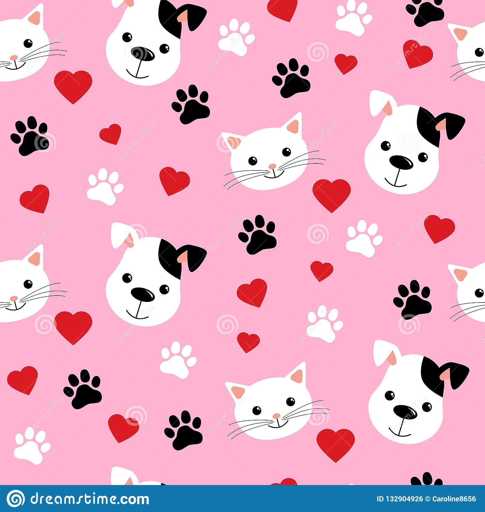 Cartoon Cats And Dogs Seamless Pattern Showing Cute Cat And Dog For Pets Friendship Or Wallpaper Design Stock Vector Illustration Of Animal Happy 132904926