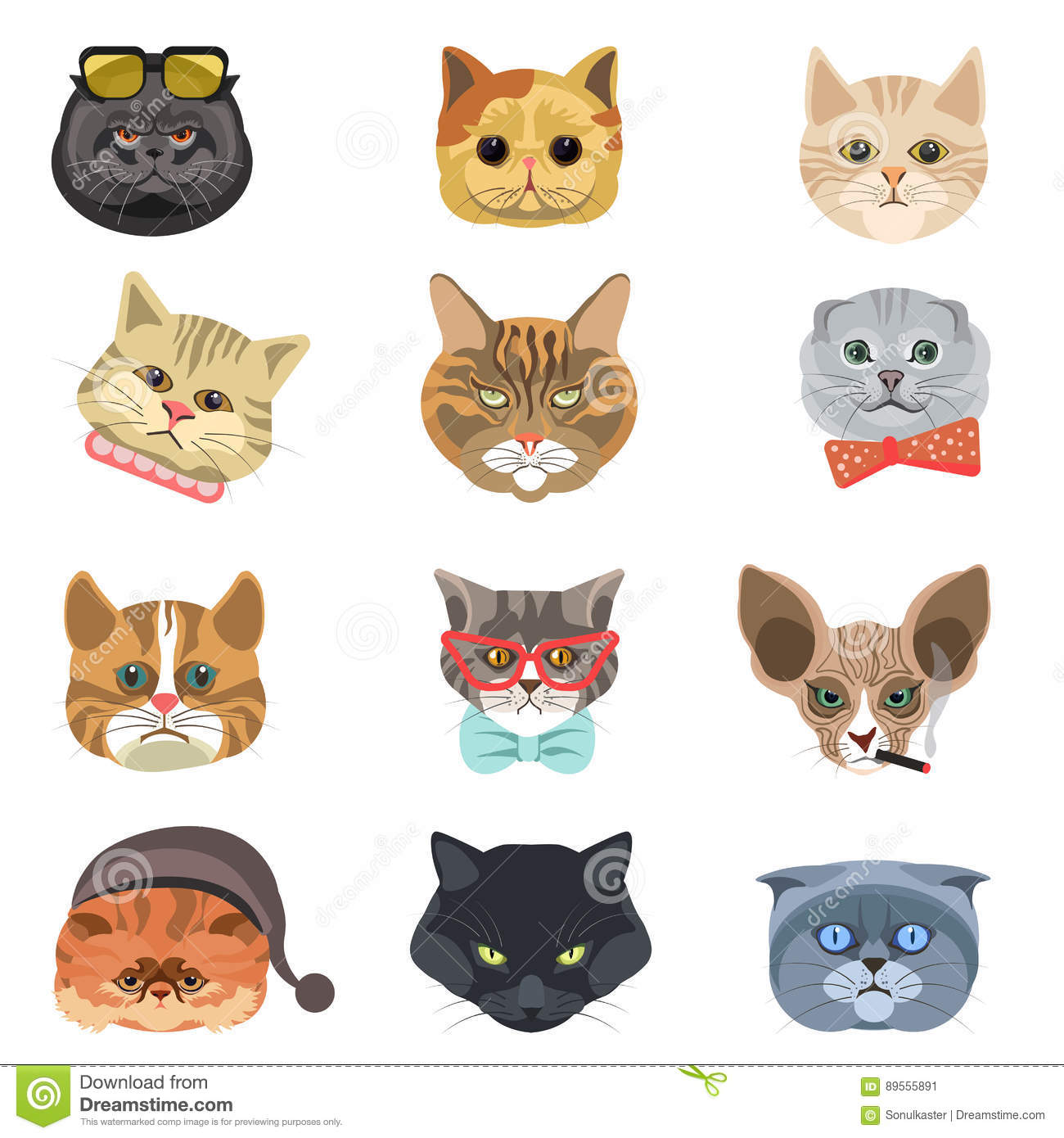 Cartoon Cats And Hipster Kittens Face Muzzles Vector Icons Stock