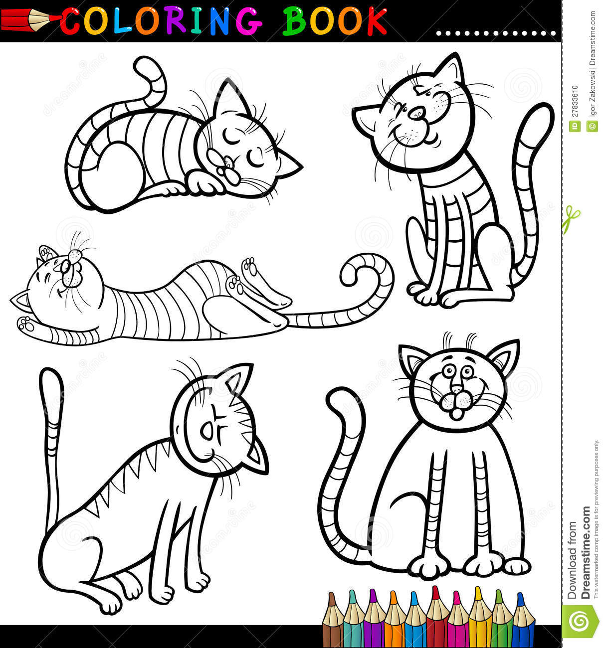 Coloring book kittens - Cartoon Cats Or Kittens For Coloring Book