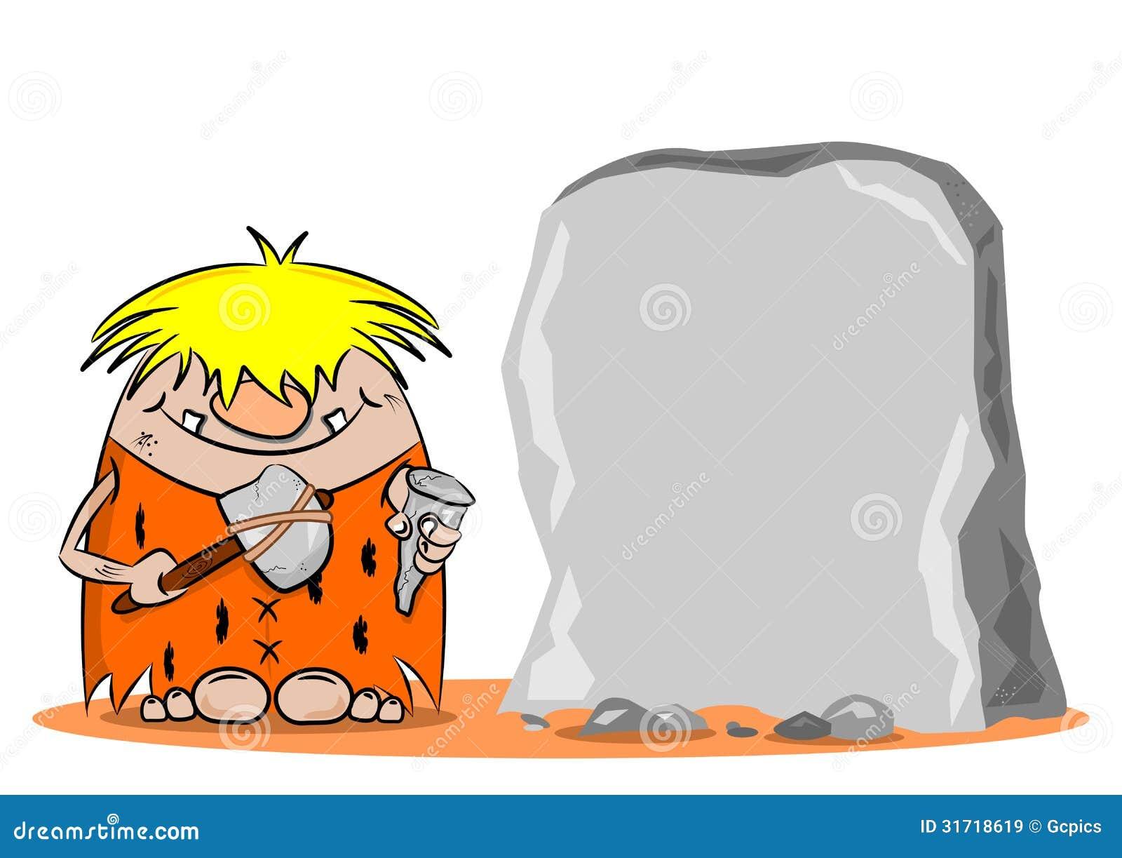 Caveman Hammer : A cartoon caveman with hammer and chisel stock vector