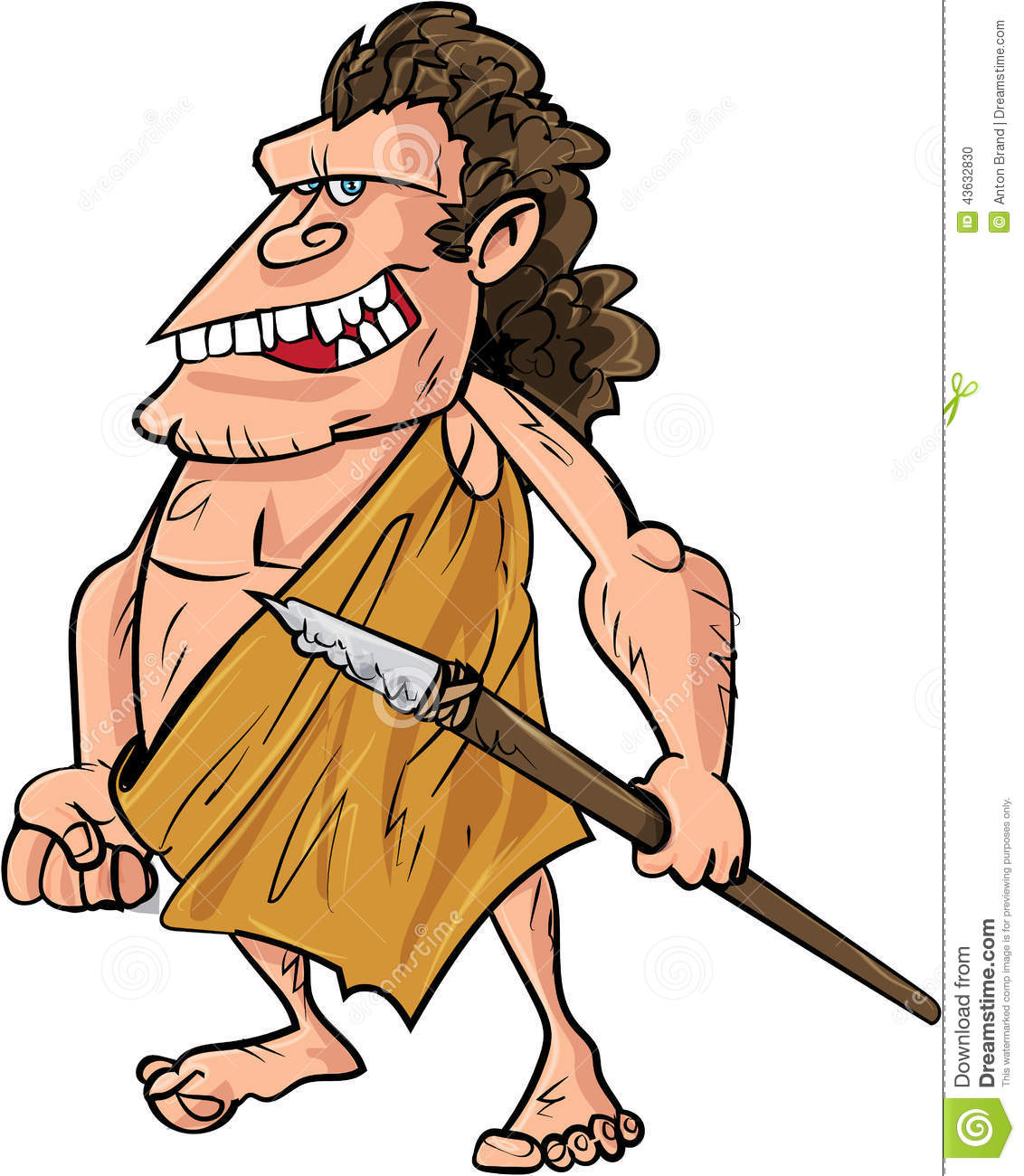 Caveman Spear : Cartoon caveman with a spear stock illustration image