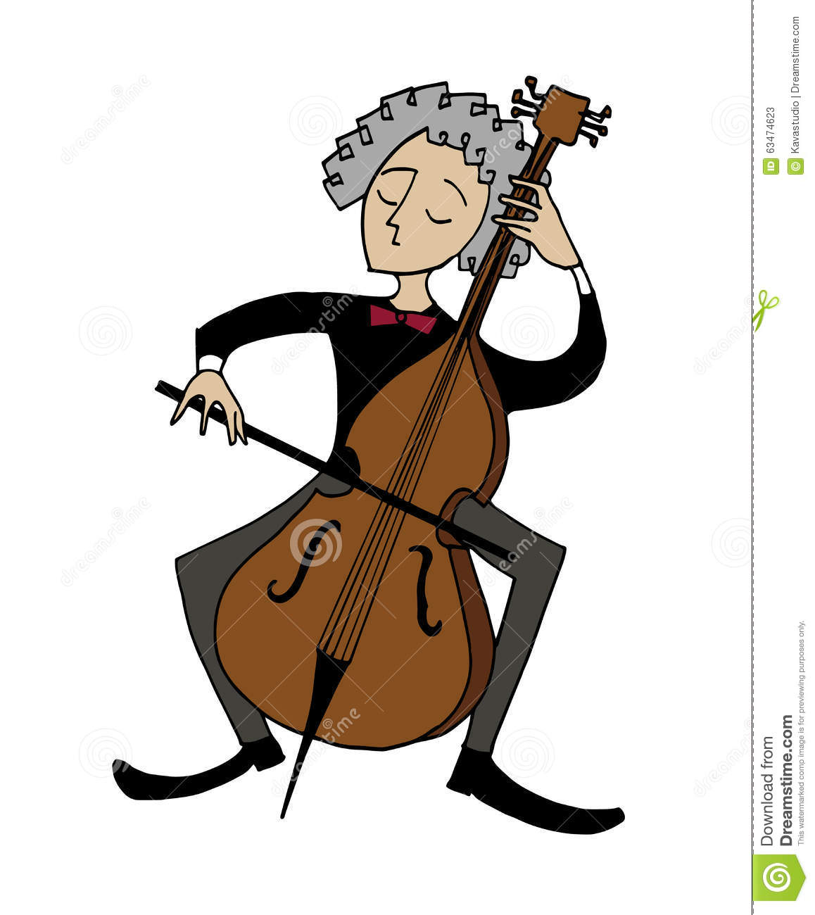 Cartoon cellist. Musician playing a cello. Clipart, hand-drawn simple ...
