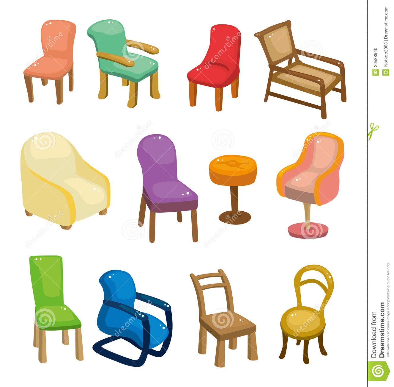 Cartoon Chair Furniture Icon Set Stock Photo - Image: 20588940