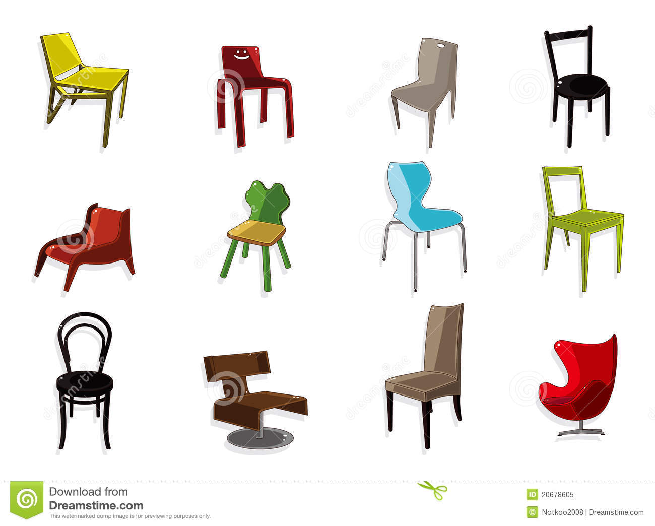 Cartoon Chair Furniture Icon Set Royalty Free Stock Photo