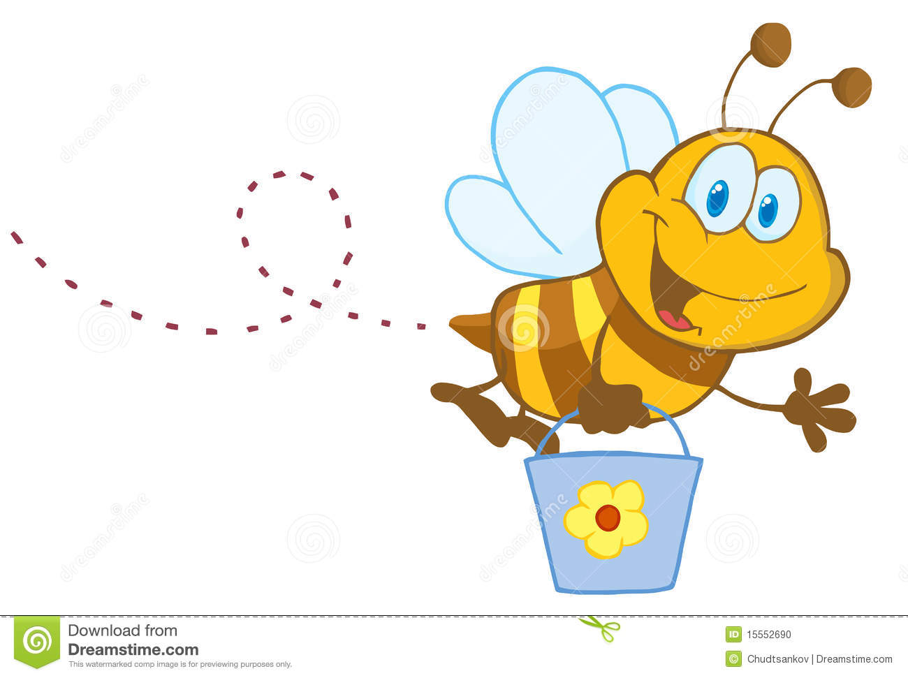 Cartoon Character Bee Flying Bucket Stock Photo Image 15552690