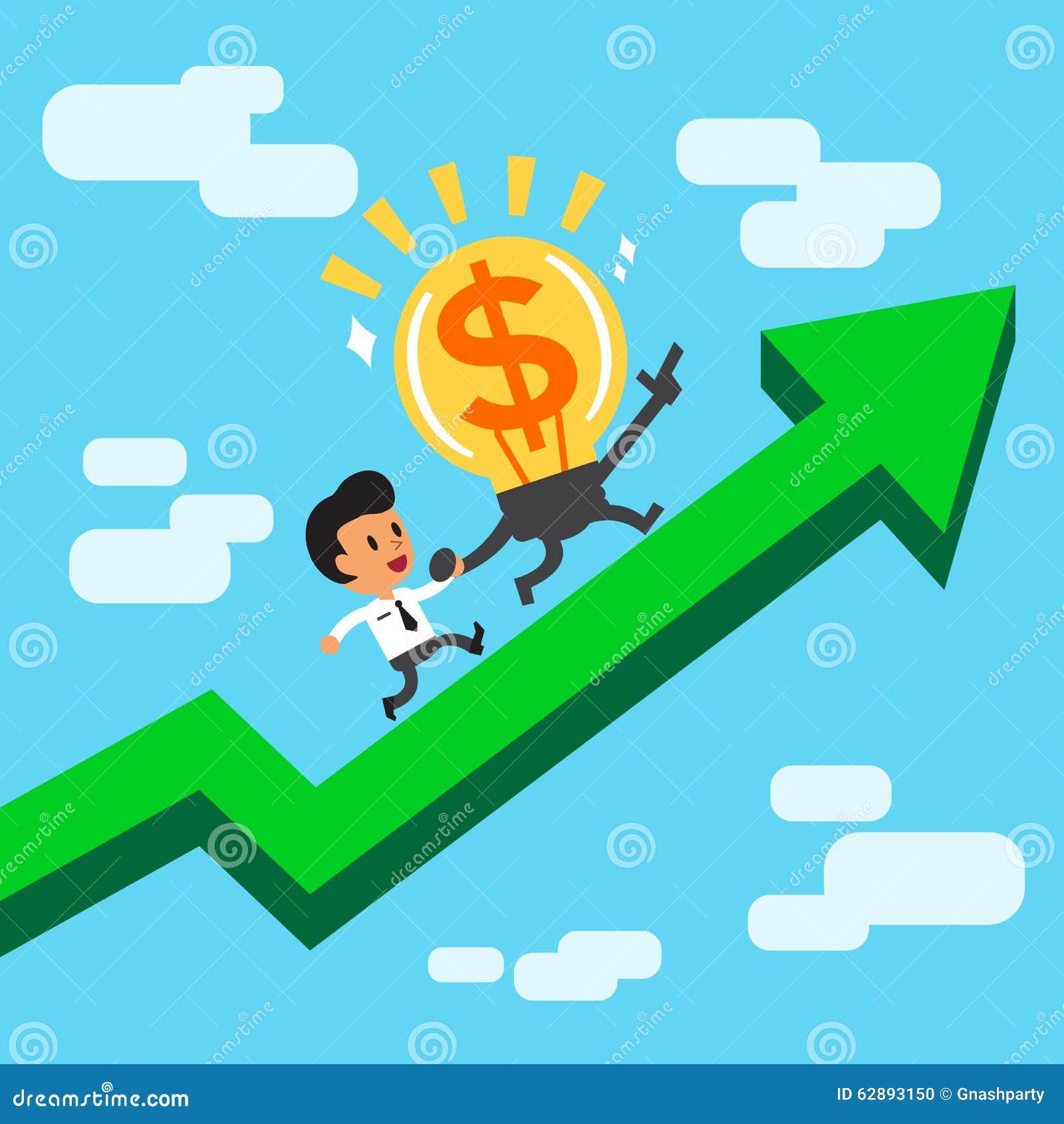 Cartoon character big money idea and businessman running