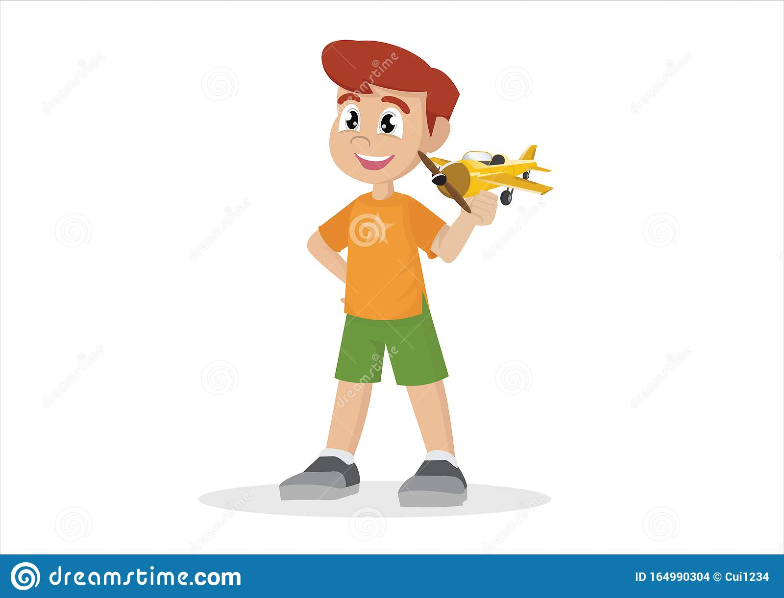 Cartoon Character Boy With Toy Airplane Stock Vector
