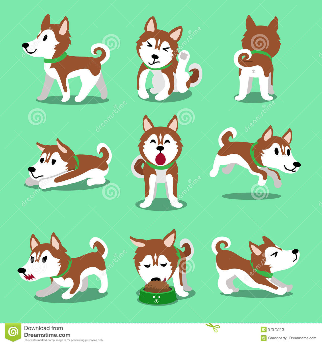 Cartoon Character Brown Siberian Husky Dog Poses Stock Vector Illustration Of Funny Sign 97375113