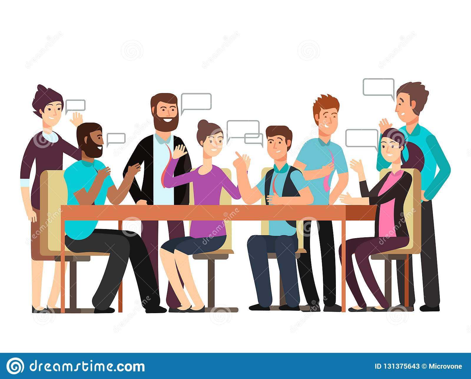 Cartoon character business team have conversation. Woman and man at morning meeting