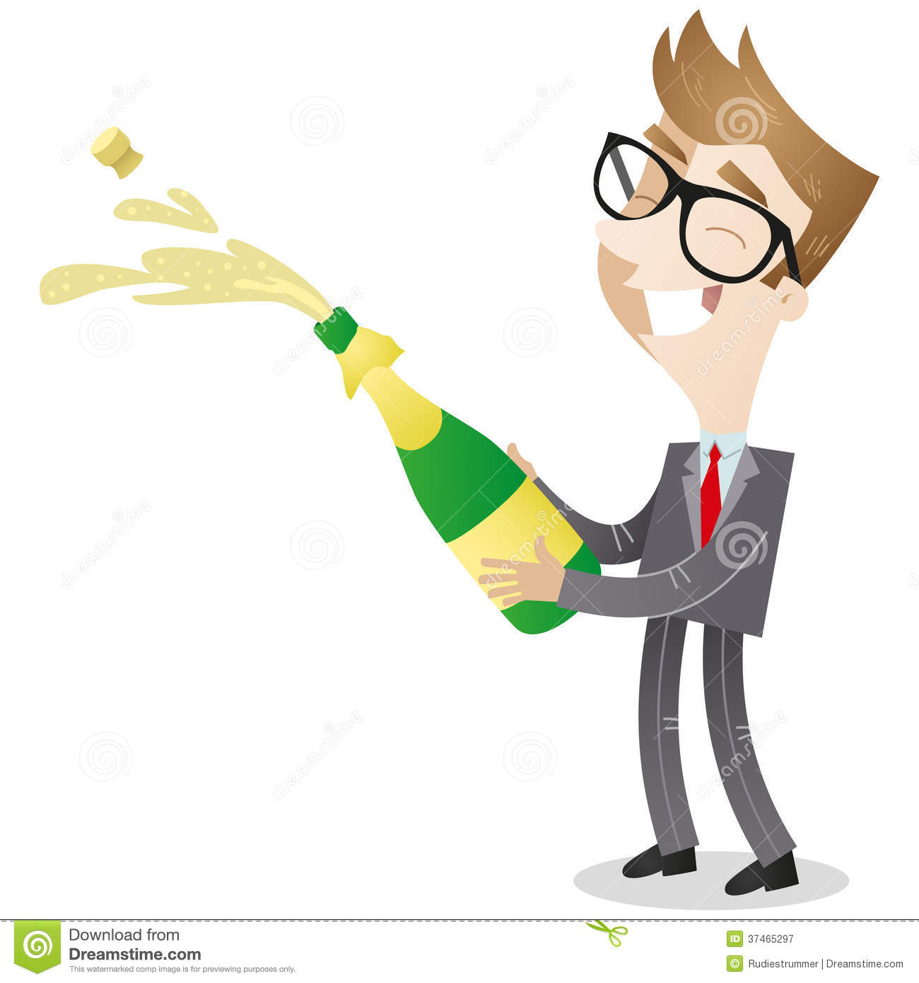 Cartoon Character: Businessman Opening Champagne Royalty Free Stock ...
