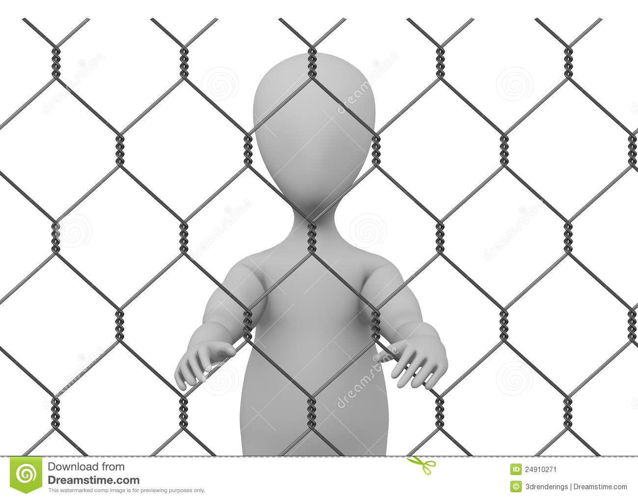 Cartoon character with chain fence prisoner insi stock