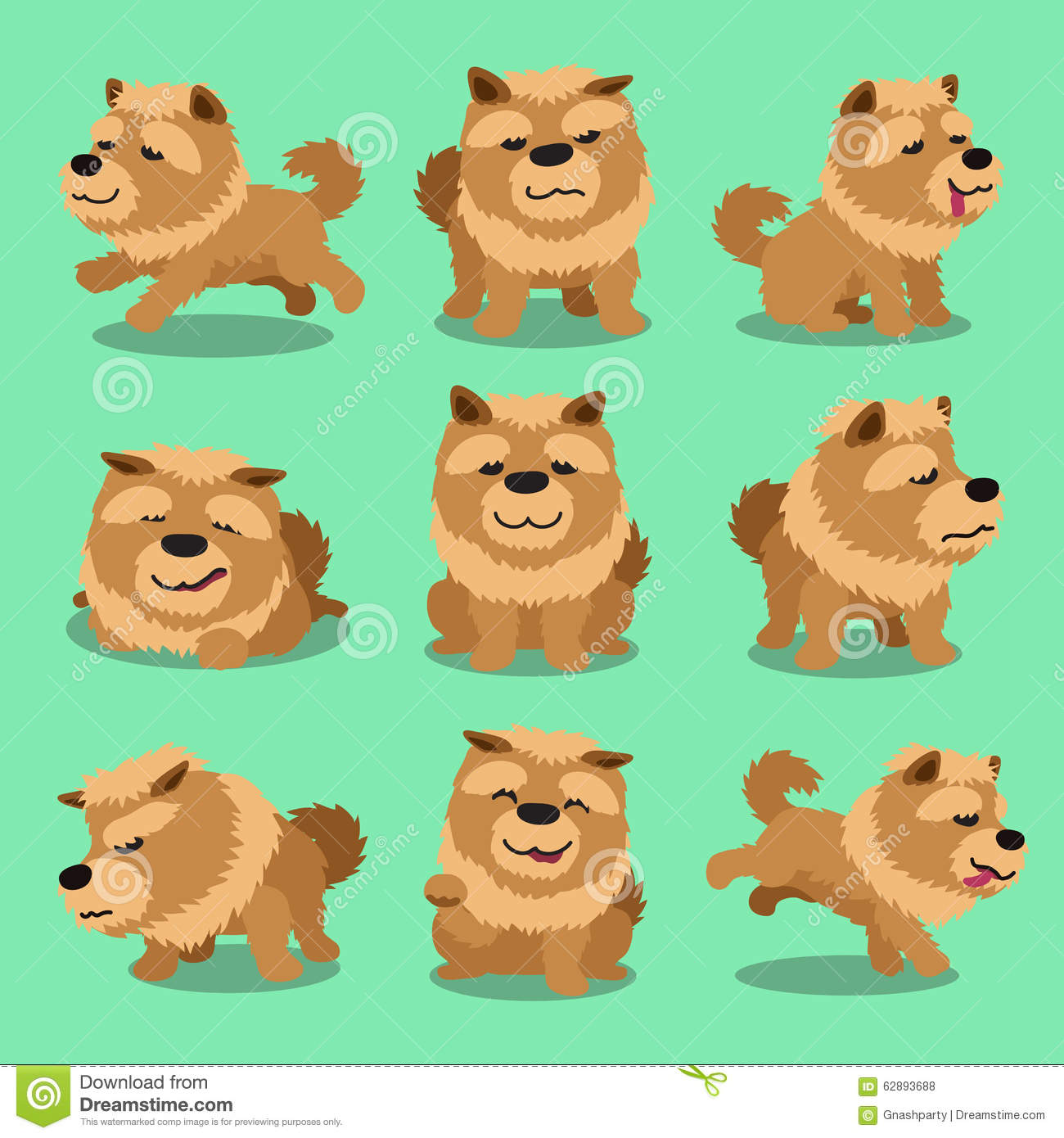 Cartoon Character Chow Chow Dog Poses Stock Vector - Image: 62893688