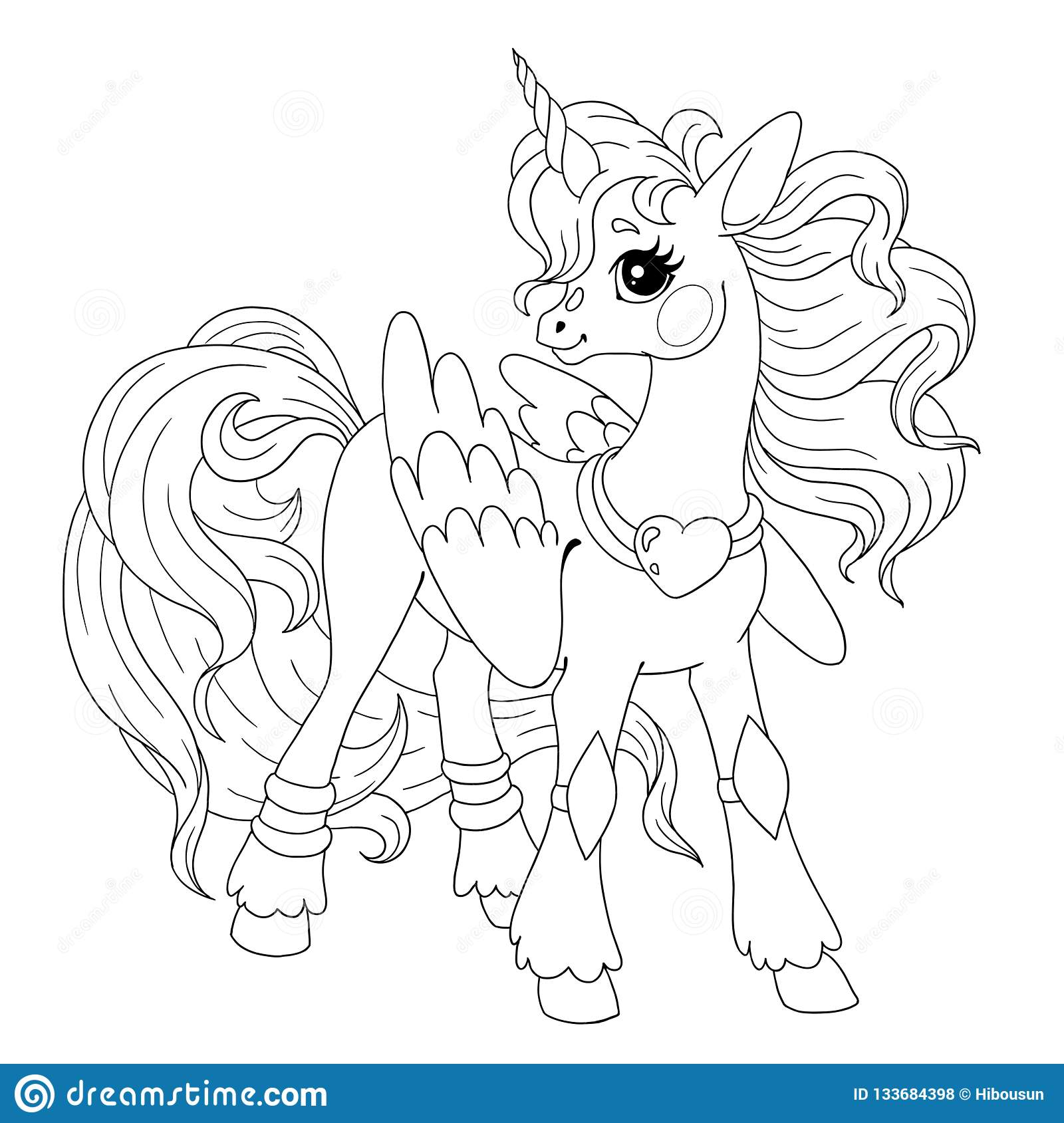 - Cartoon Character For Coloring Book. Pony Unicorn Doodle. Element