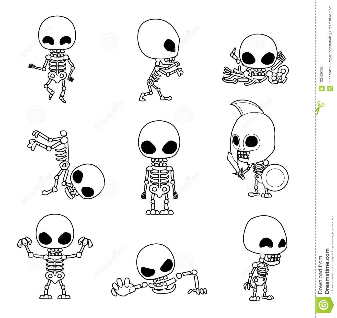 - Halloween Character Big Head Poses Skeleton Coloring Book Stock