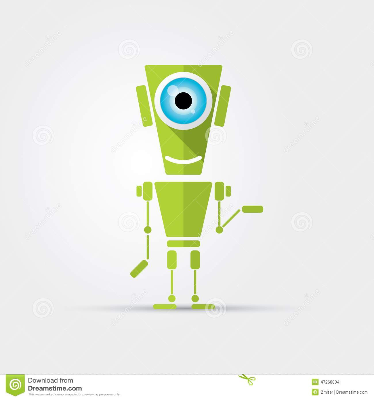 A Cartoon Character That Is Green : Cartoon character cute green robot stock vector image