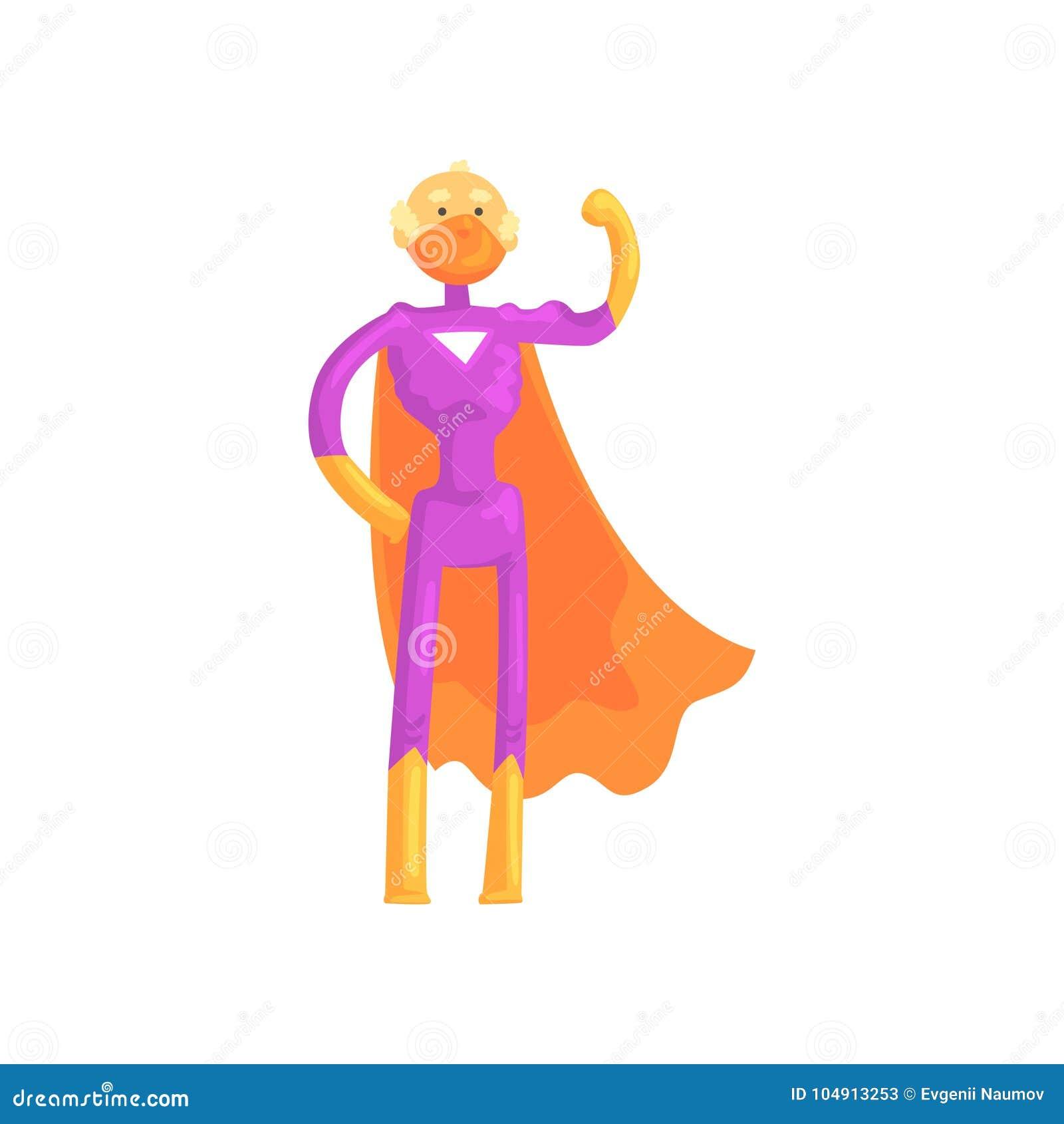 cartoon character of elderly superhero in classic comics costume