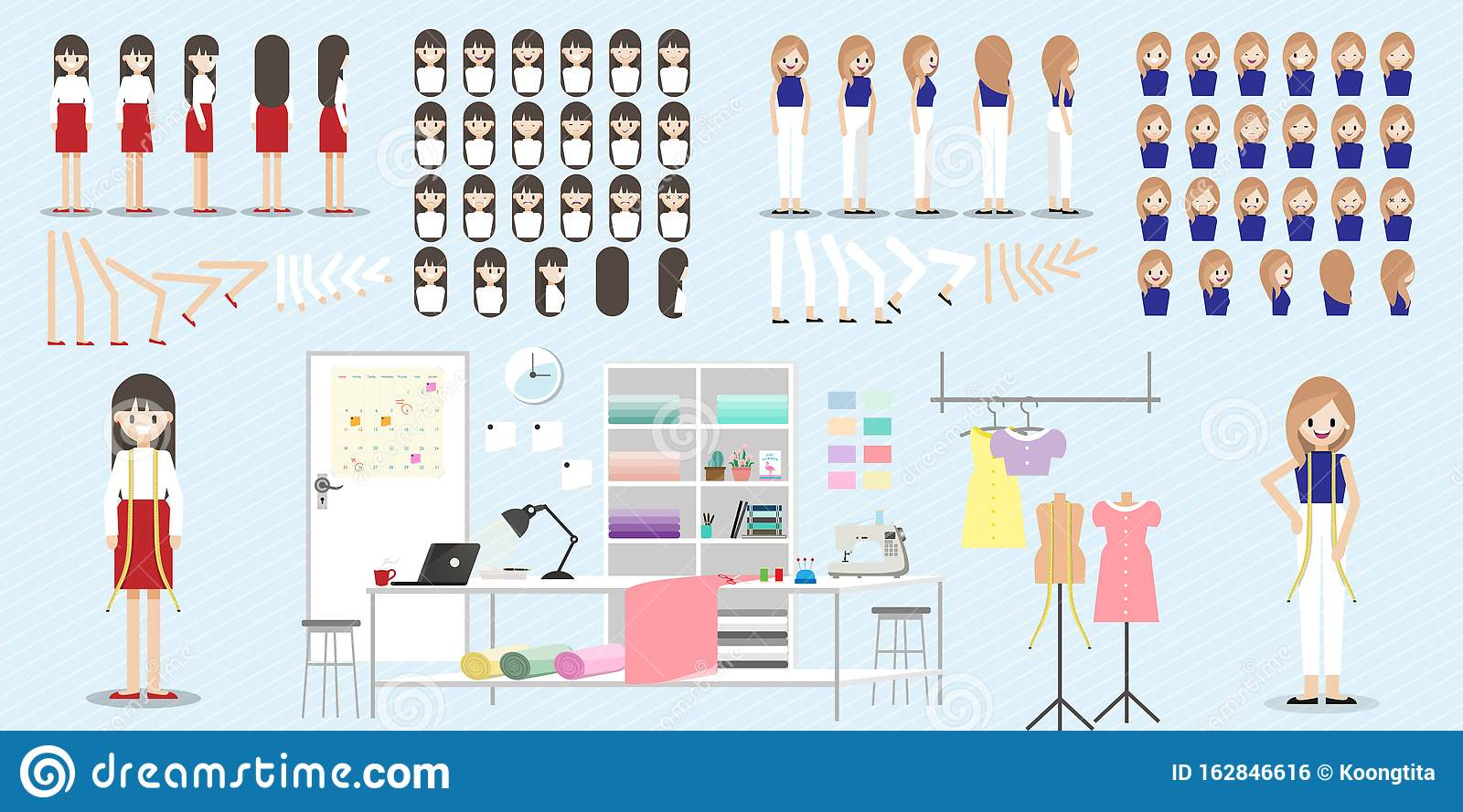 Cartoon Character With Fashion Designer Job For Animation Lady Head Set Front Side Back 3 4 View Character Stock Vector Illustration Of Girl Colorful 162846616