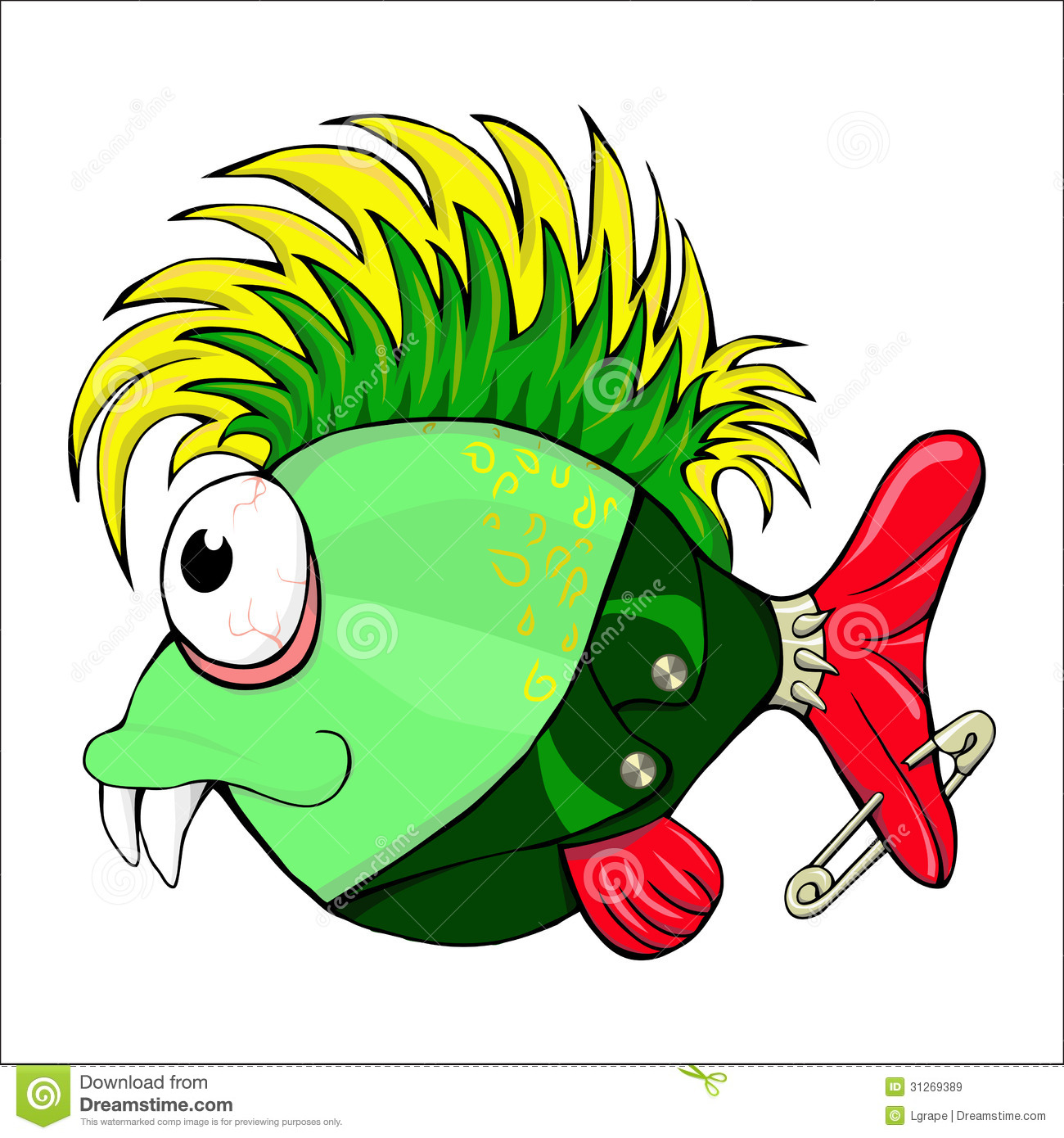 Cartoon Character - Fish Punk . Stock Illustration - Illustration of ...