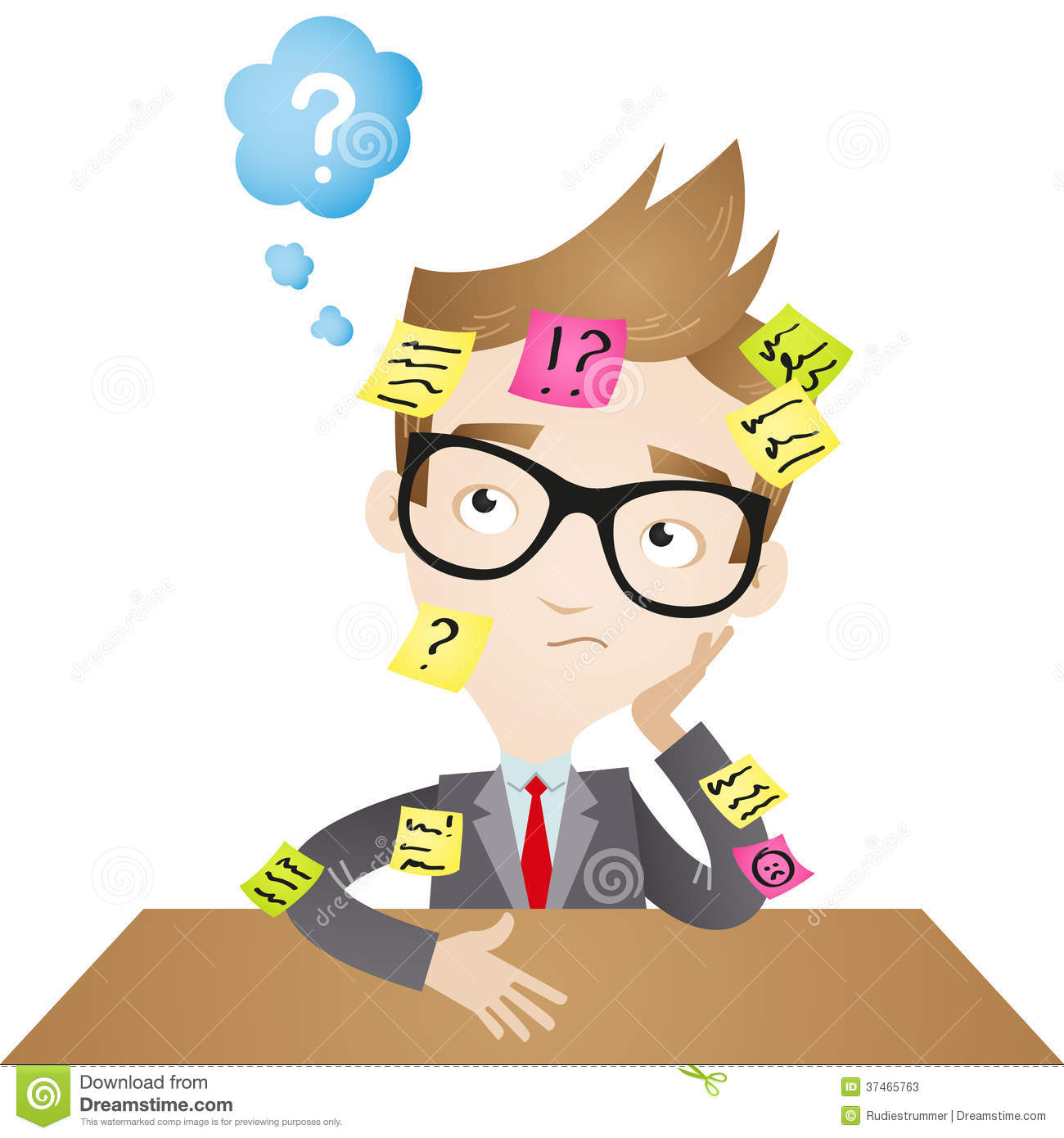Cartoon Character Forgetful Businessman Stock Vector