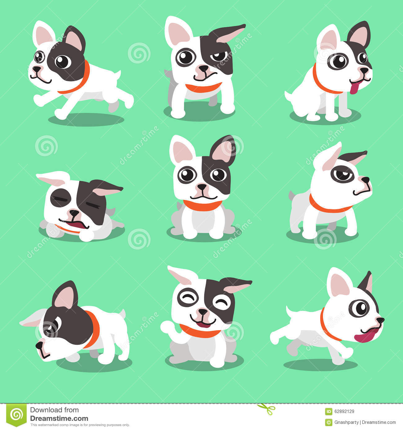 Cartoon Character French Bulldog Poses Stock Vector Illustration