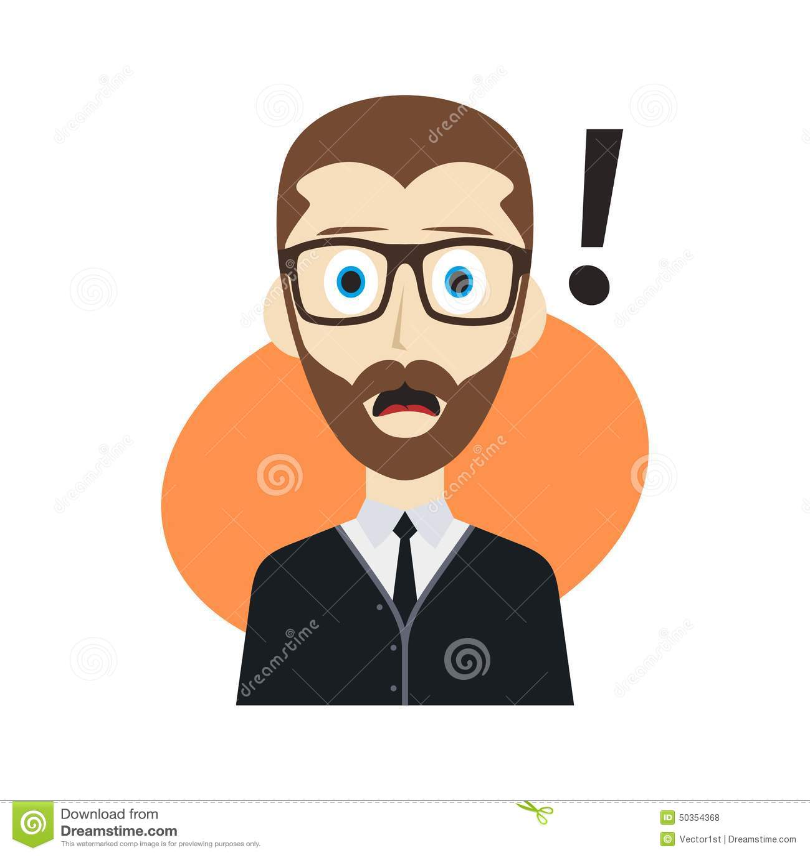 Cartoon Character Guy Surprise Stock Vector Image 50354368