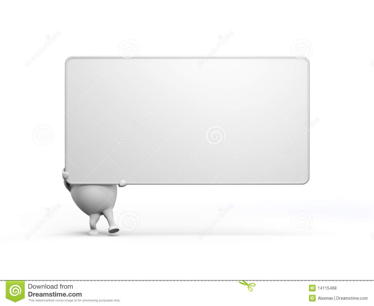 Cartoon Character Holidng a Large Blank Sign