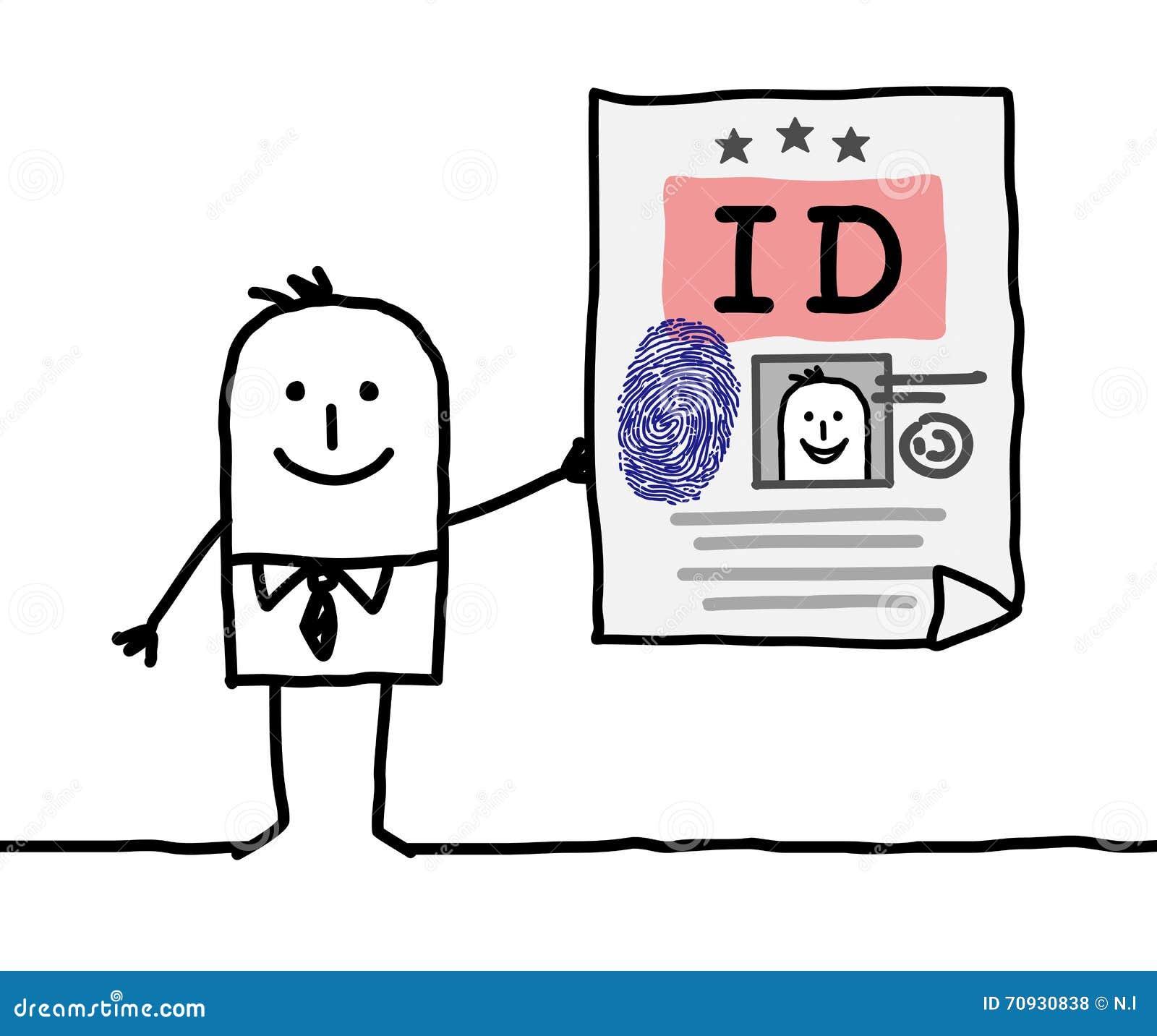 E Card Cartoon Characters : Cartoon character identity card stock vector