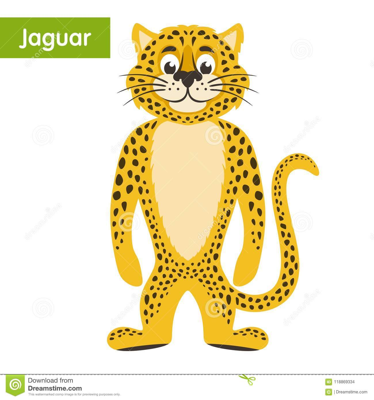 Download Yellow Jaguar On A White Background. Stock Vector   Illustration  Of Cute, Education