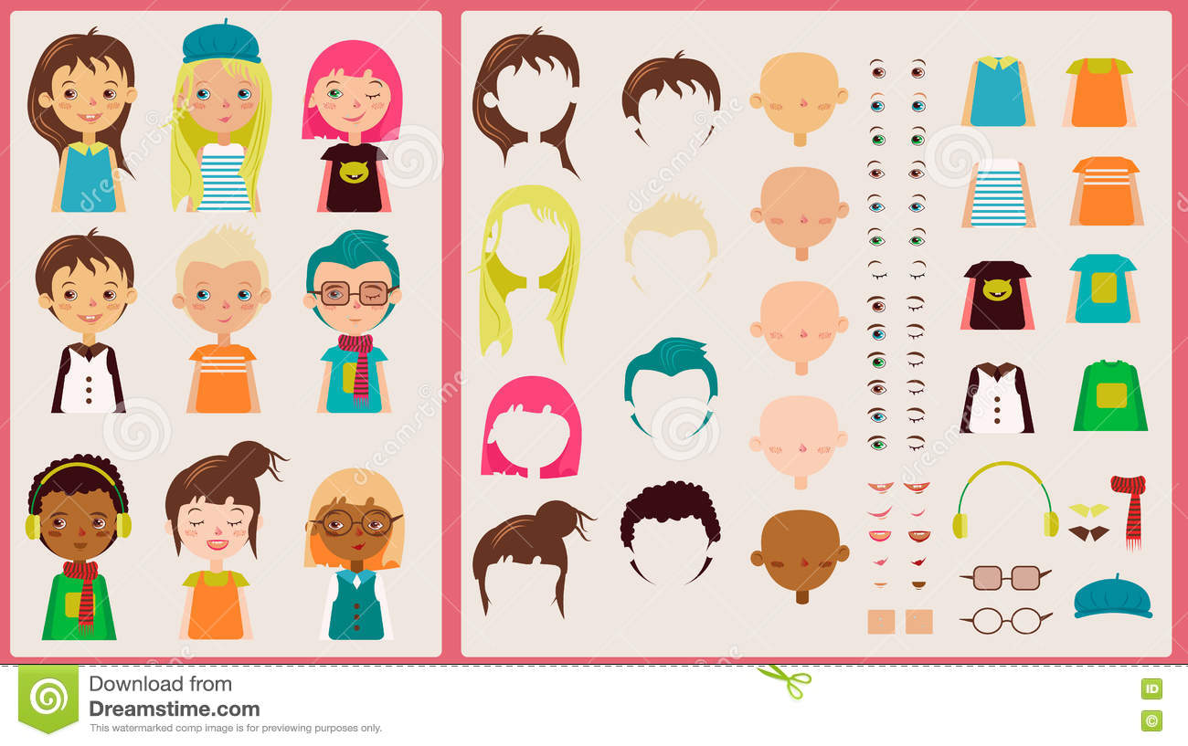 Character Design Kit : Cartoon character kit for design and illustration stock