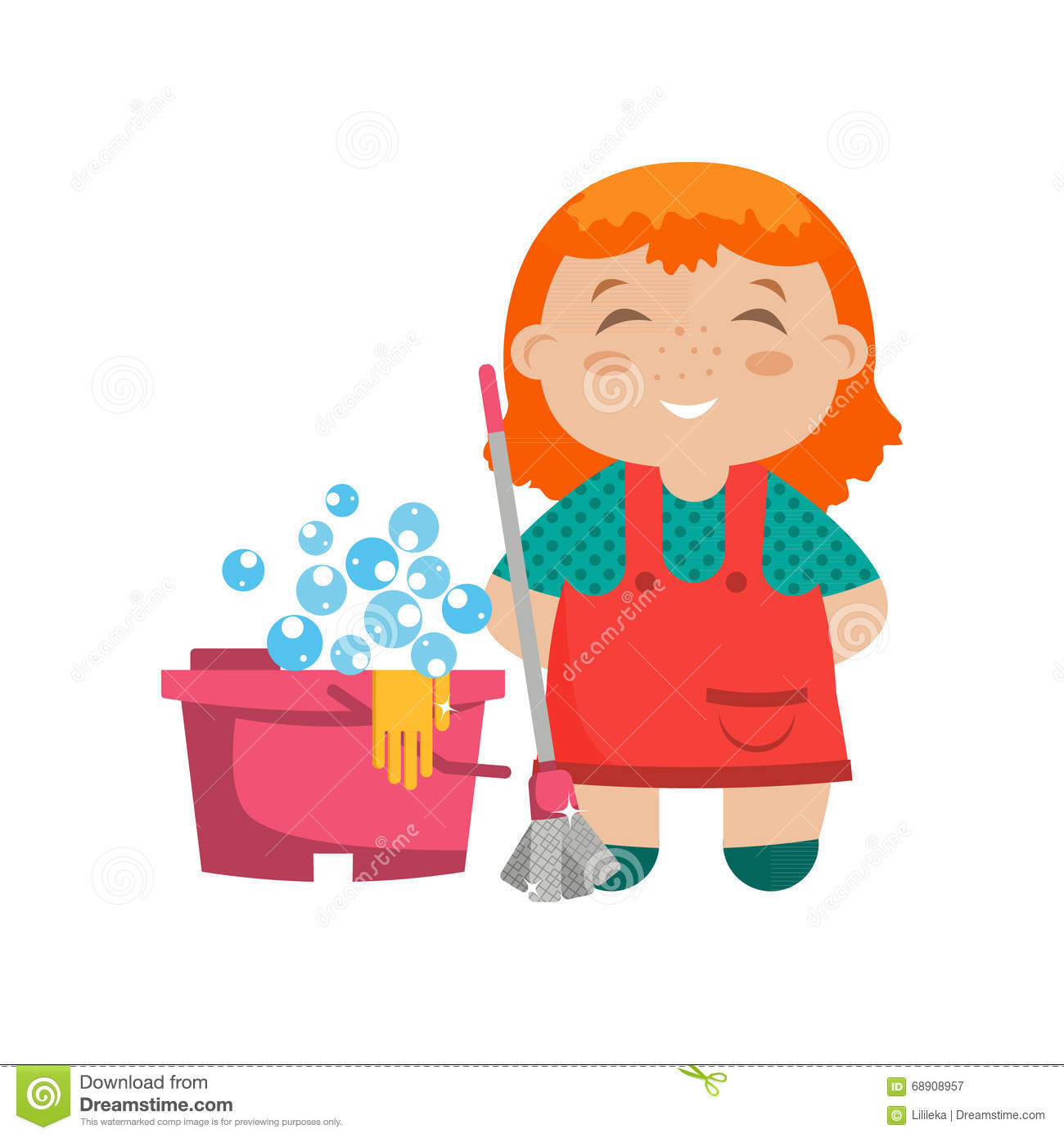 ... Cartoon cartoon character little girl with mop for cleaning floors