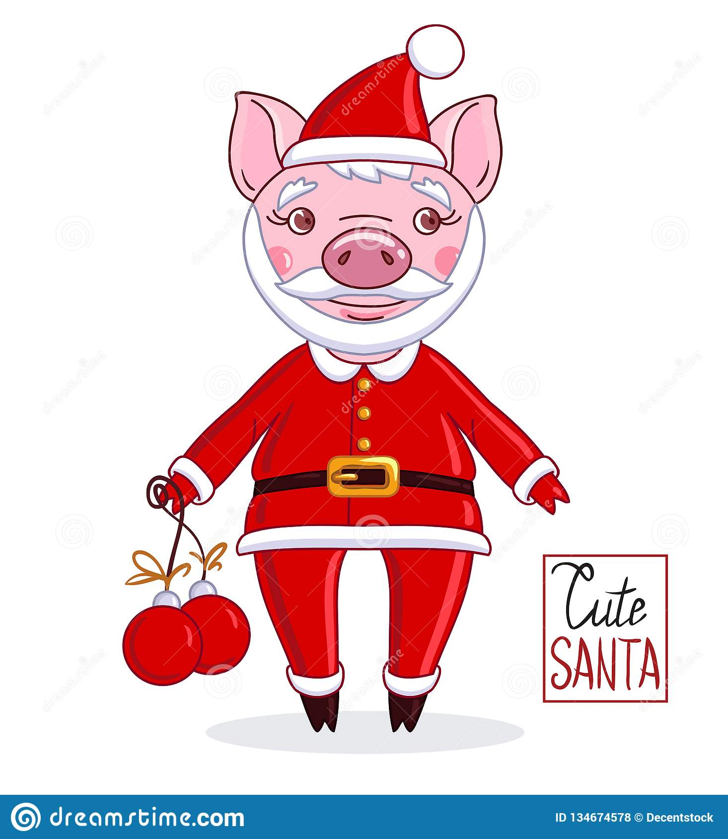 77aa5f52dc955 Cartoon character piglet in the role of Santa Claus in a red hat with a  beard and mustache