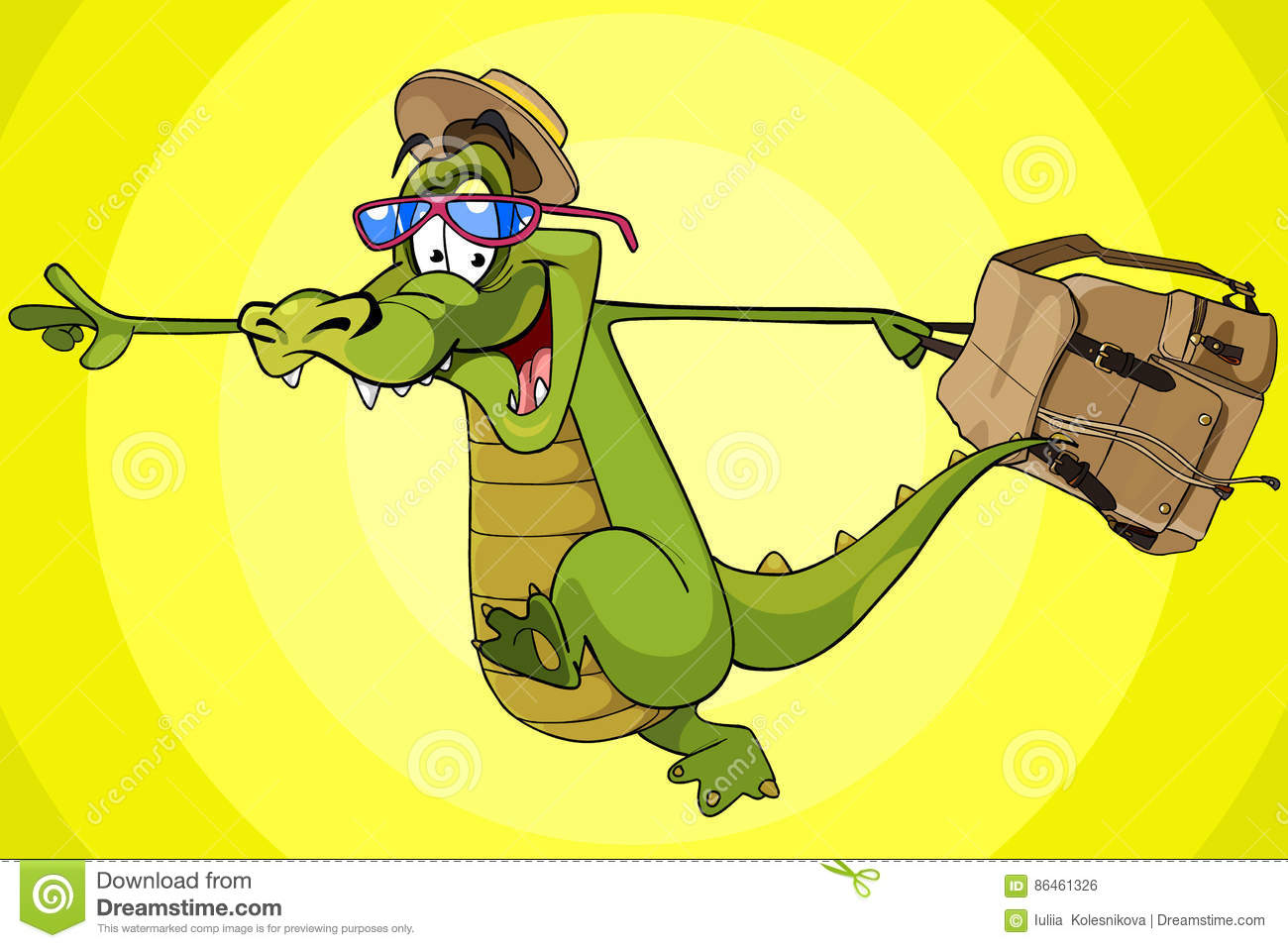 1949bf9d7782ce Cartoon character running cheerful crocodile in a hat with a backpack