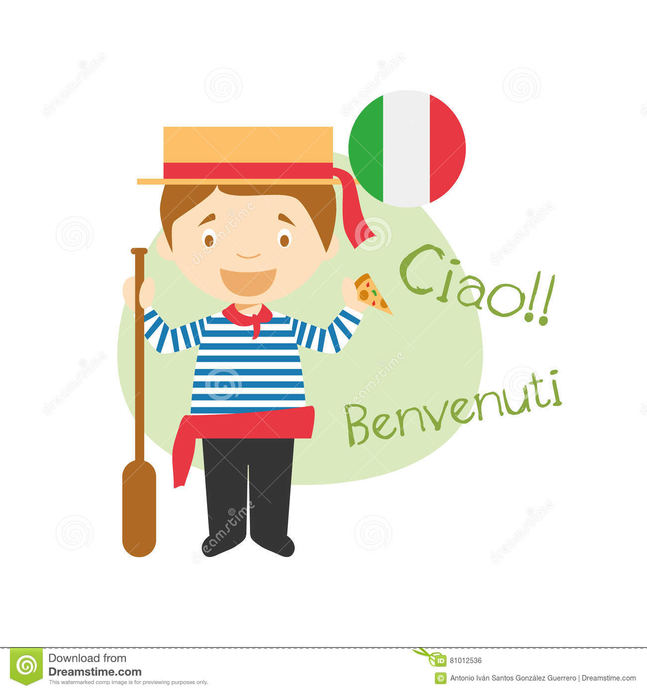 Cartoon Character Saying Hello And Welcome In Italian Stock Vector