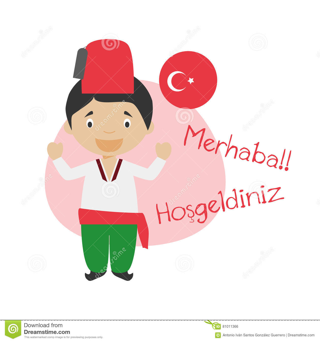 cartoon character saying hello and welcome in turkish stock vector