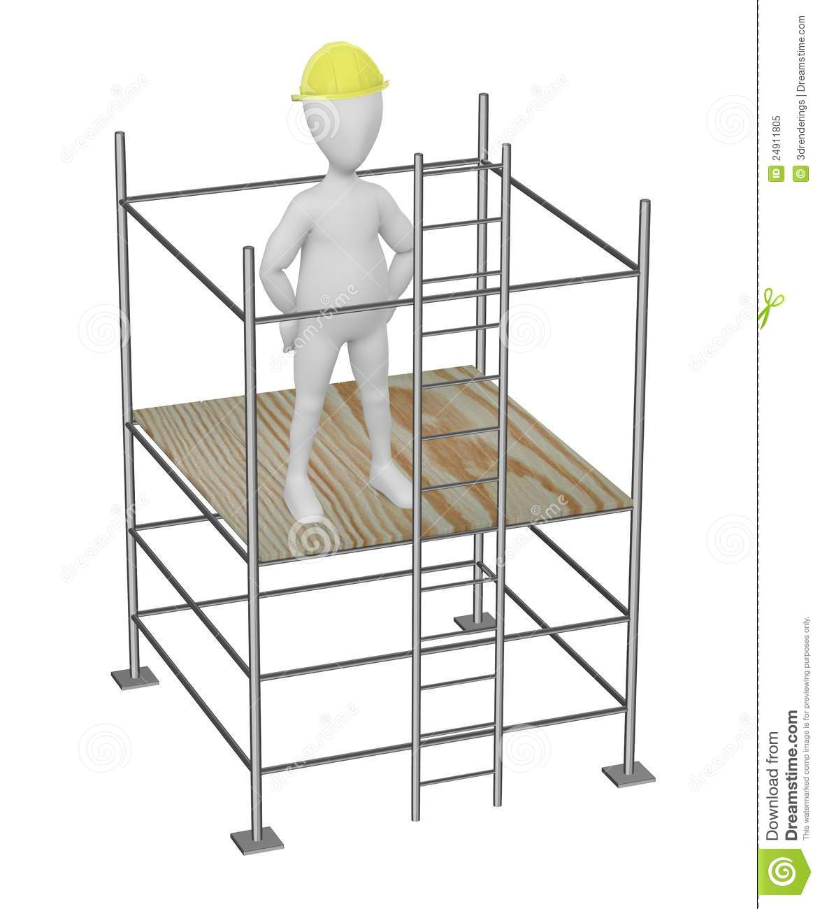 Working On Scaffolding : Cartoon character on scaffolding not working stock