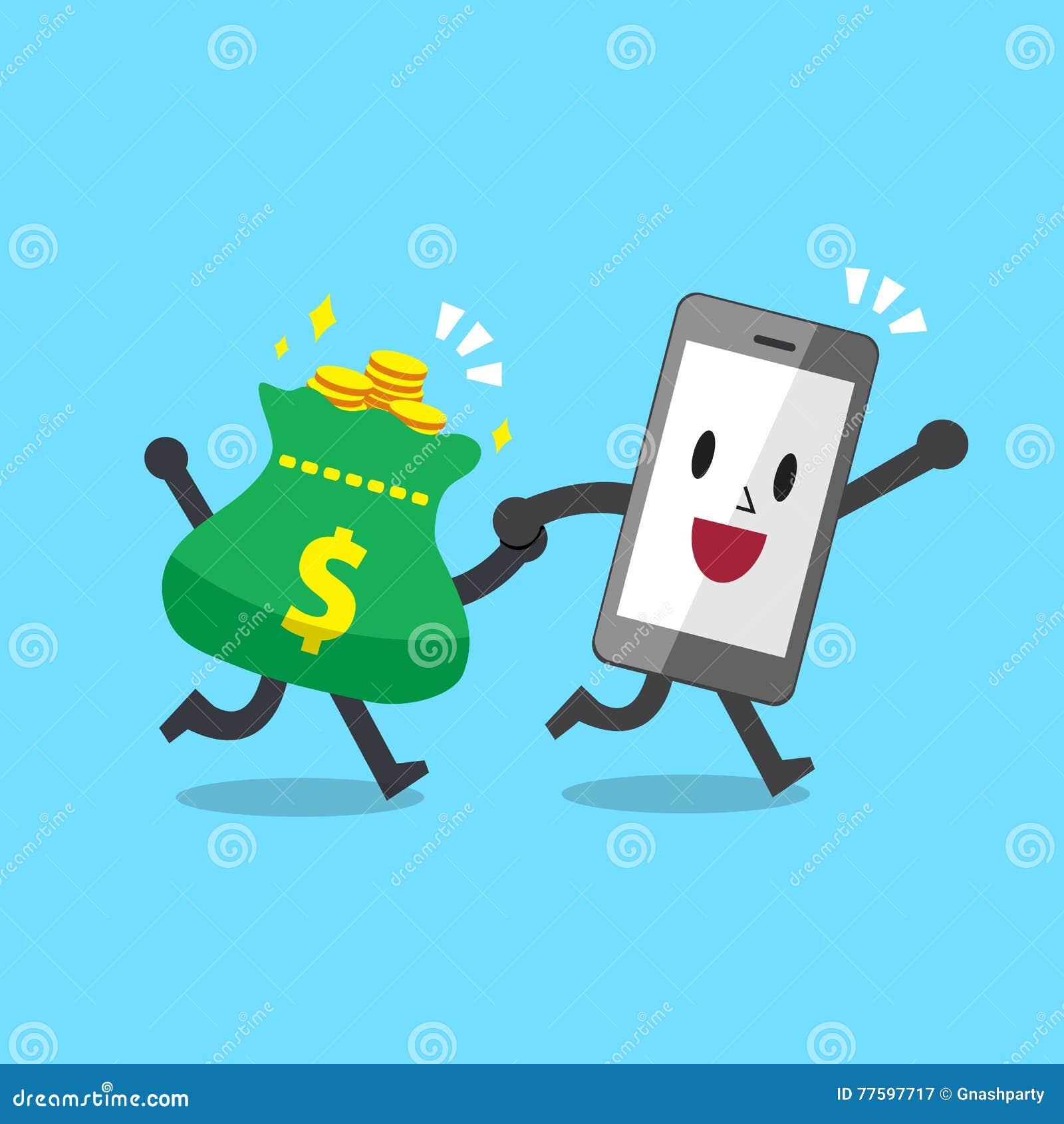 Cartoonsmart Character Design : Cartoon character smartphone with money bag stock vector
