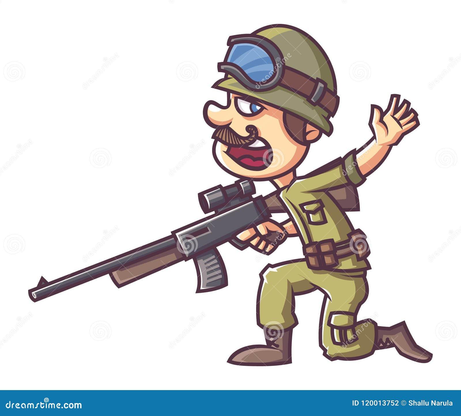 Indian Soldier Cartoon Illustration Stock Illustration