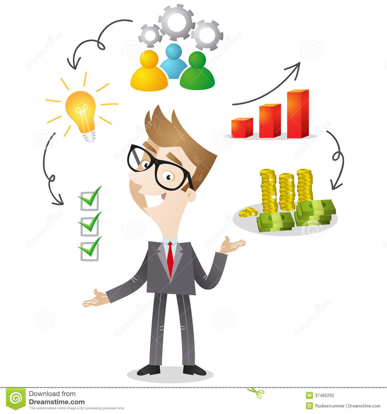 Cartoon Character: Successful Businessman Stock Vector