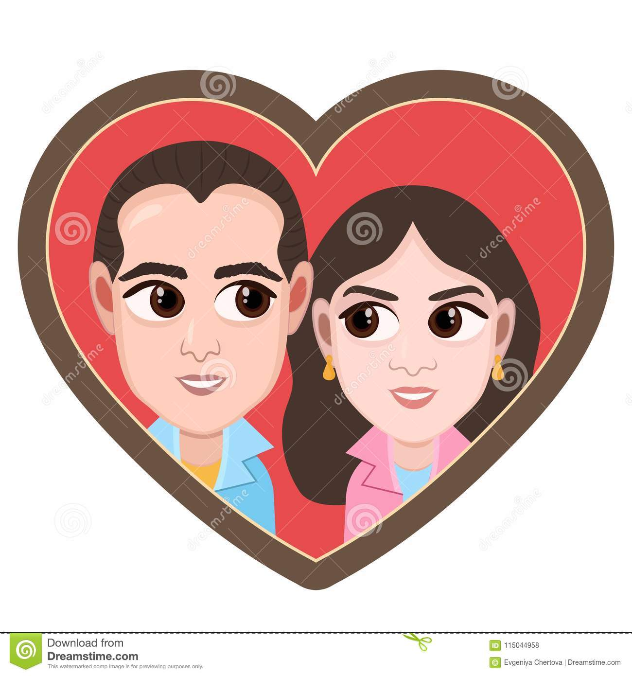Download Cartoon Character Vector Drawing Portrait Lovers Couple Boy And Girl Icon Sticker