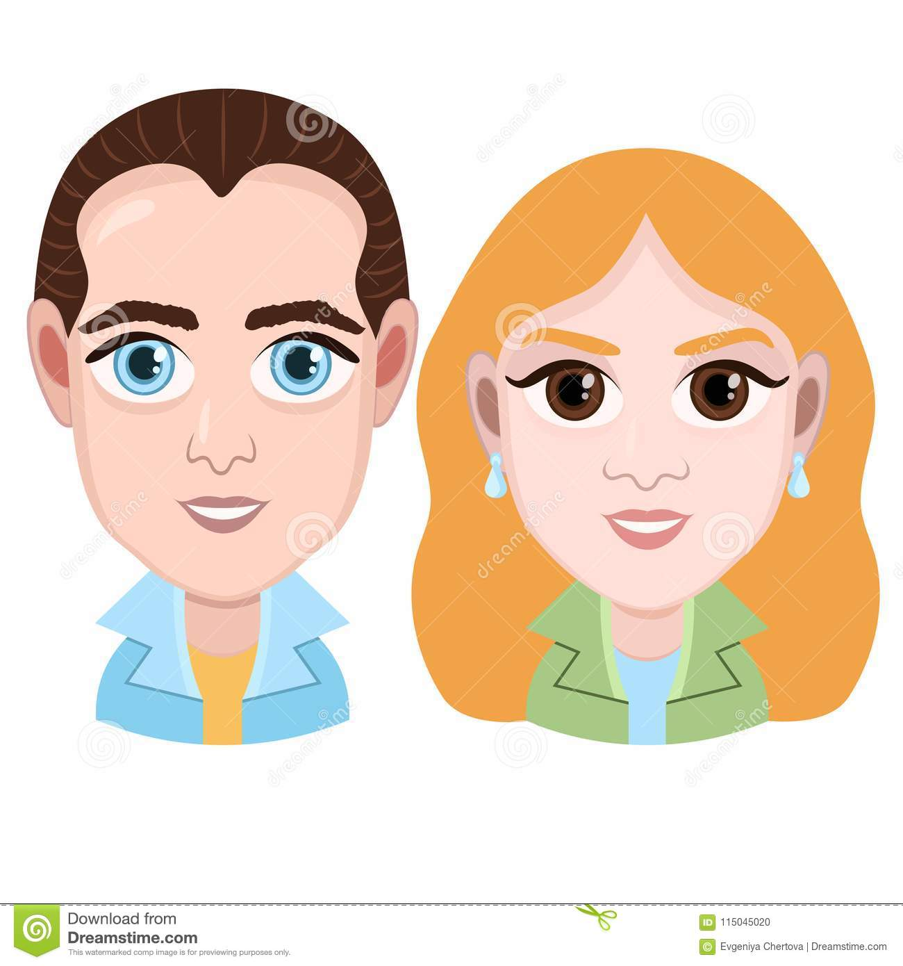 Cartoon Character Vector Graphic Drawing Portrait Boy And Girl
