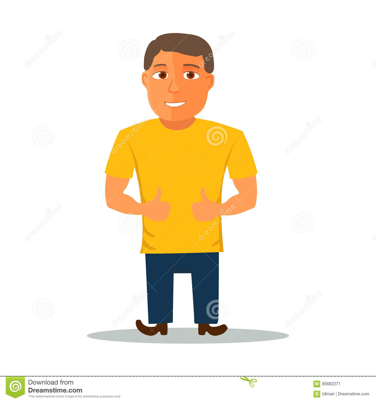 Cartoon Characters Yellow : Cartoon character in yellow t shirt vector stock