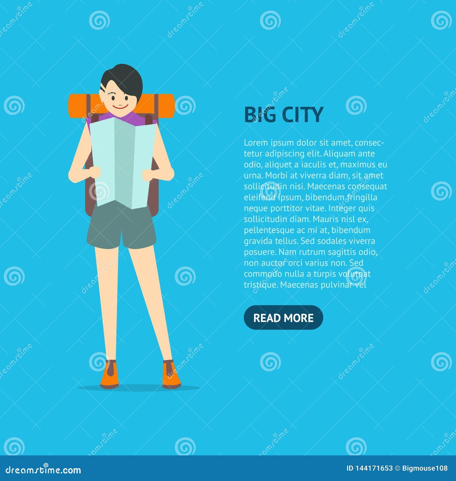 Cartoon Character Young Woman Travel Card Vector Stock Vector