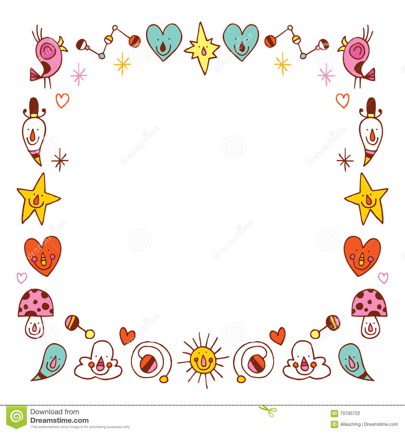 Border Design Disney Character : Cartoon characters border frame vector illustration