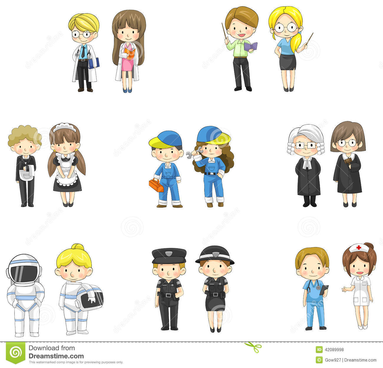 Cartoon Characters Jobs : Cartoon characters in both man and woman variou stock
