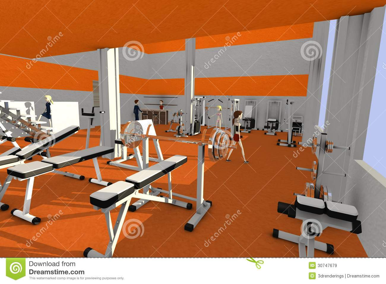Cartoon characters in gym stock illustration
