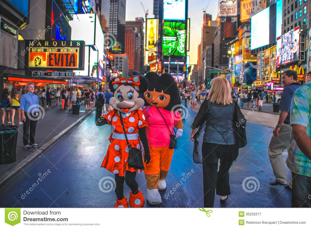 Cartoon Characters In Time Square New York Editorial