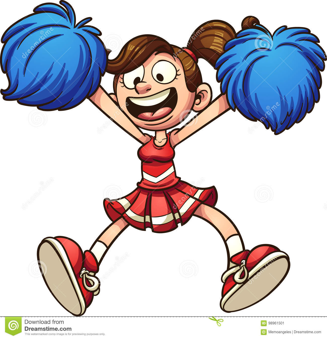 cartoon cheerleader stock vector illustration of cartoon 98961501 rh dreamstime com cheerleader clipart pom poms cheerleader clipart pom poms