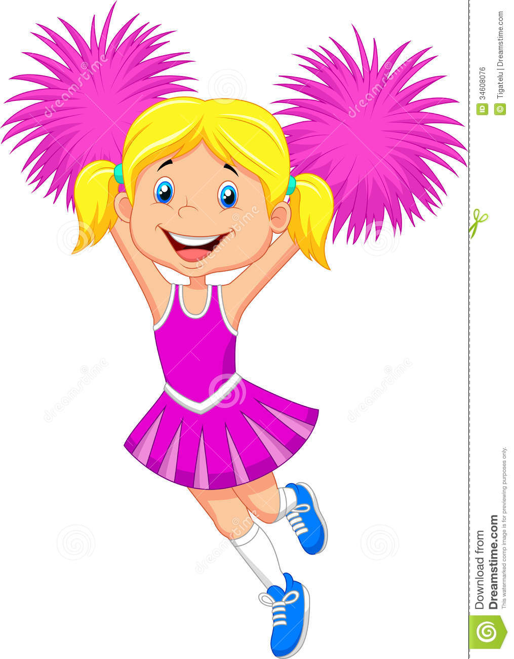 Cartoon Cheerleader With Pom Poms Royalty Free Stock Image - Image ...