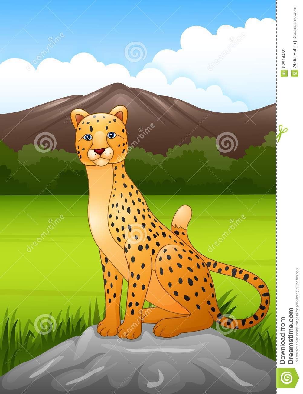 Cartoon cheetah sitting on a rock in African savanna